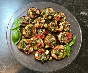 Eggplant and Tomatoes with Caper-Shallot Vinaigrette